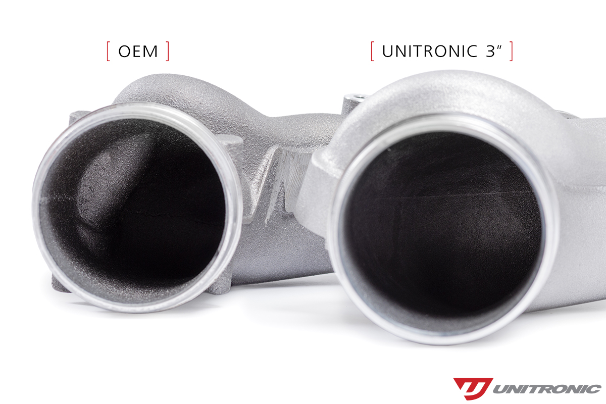 Unitronic Inlet Elbow VS OEM Opening Side by Side