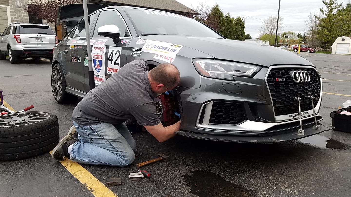 Working on Audi RS3 at One Lap Of America 2019